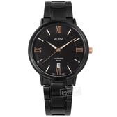 ALBA / VJ42-X304SD.AS9L19X1 / 簡約紳士 羅馬刻度 藍寶石水晶玻璃 日期 不鏽鋼手錶 鍍黑 41mm