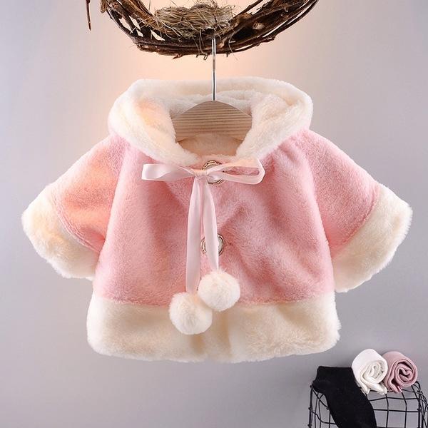 嬰兒連帽披風 毛絨斗篷 嬰兒外套 UG14103 好娃娃