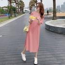 漂亮小媽咪 韓系 純色 坑條 針織棉 長裙 【D3271】開叉 修身 長洋裝 連身裙