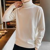 2021冬季新款男士韓版高領毛衣潮流冬裝針織衫個性線衣外套打底衫