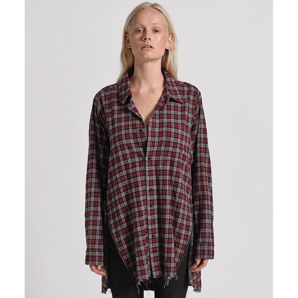 OneTeaspoon 襯衫 UPSIZED CHECK ZIP UP SHIRT-紅(女)