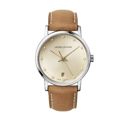 喬治傑生(GEORG JENSEN)-KOPPEL 431-32MM三指針日期錶,香檳色錶盤