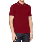 AX阿瑪尼針織短袖Polo(酒紅色)