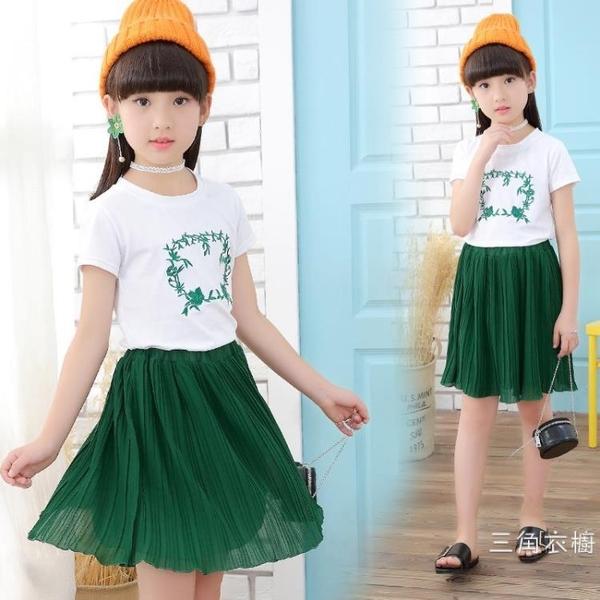 套裝12歲女童夏裝雪紡套裝4兒童休閑5韓版短袖T恤7夏季裝純棉8運動服
