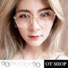 OT SHOP眼鏡框‧時尚簡約款色圓型混膠鏡框鼻墊平光眼鏡‧亮黑/茶色/透明粉/透明金‧四色現貨‧S26