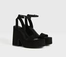 魚口鞋 西班牙潮牌夏季新款一字式扣帶坡跟魚嘴厚底粗跟性感超高跟涼鞋女