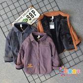 兒童刷毛襯衫磨毛冬款男童寶寶加厚保暖棉質字母中小童襯衣外套潮
