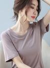 莫代爾短袖t恤女寬鬆夏季ins潮網紅白色時尚洋氣韓版純色女士體恤 果果輕時尚