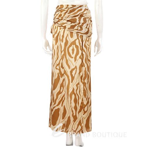 GENNY 駝色圖紋設計綁帶長裙 0590036-02