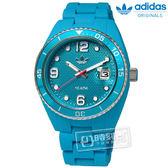 adidas 愛迪達 / ADH6163 / Brisbane 搖滾格紋指針運動防水玻麗矽膠手錶 水藍色 42mm