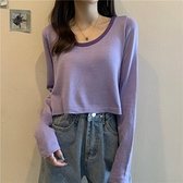 秋季2020新款韓版溫柔風寬松長袖針織衫女裝內搭打底衫短款上衣服 怦然心動