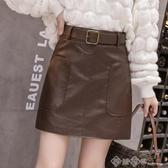 女士皮裙時尚新款2020春秋咖色半身裙帶腰帶氣質高腰a字包臀短裙 西城
