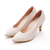 MICHELLE PARK 雅緻 ‧ 尖頭造型壓紋高跟鞋-粉白