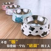 狗盆狗碗貓碗雙碗防打翻貓糧盆不銹鋼狗狗食盆大號大型犬寵物飯盆