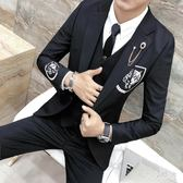 西裝套裝婚禮宴會青年演出小西服三件套韓版大碼zzy3815『伊人雅舍』