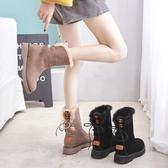 皮毛一體雪地靴女免運新款冬中筒加絨厚底內增高馬丁靴百搭大棉鞋