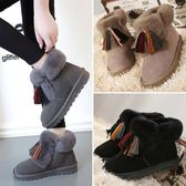 中筒靴36-40靴子17正韓女鞋冬低跟雪靴流蘇靴鞋子