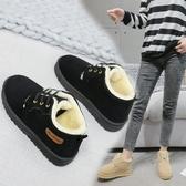 雪靴 冬季新款百搭加絨保暖棉鞋加厚靴子短筒系帶學生休閒雪地靴女   魔法鞋櫃