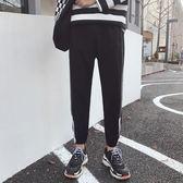 裝新款休閒褲男士情侶運動褲加大碼條紋寬鬆小腳青年哈倫衛褲潮    初語生活