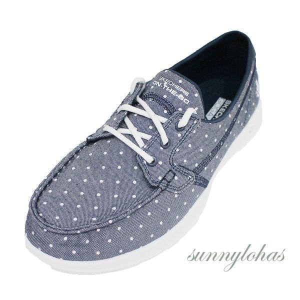 SKECHERS (女) GO WALK LITE 健走鞋 帆船鞋 平底鞋 -15437NVW 點點藍 [陽光樂活]