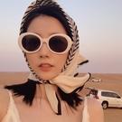 韓國沙漠旅游條紋小方巾絲巾圍巾韓系頭巾防曬領巾發帶女百搭春秋 黛尼時尚精品