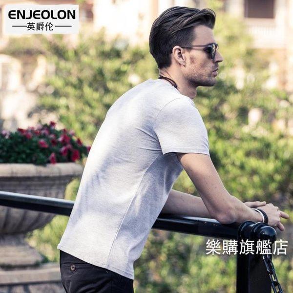 全館88折特惠-短袖T恤夏季新品T恤男士字母印花歐美風潮半袖修身衣服圓領短袖