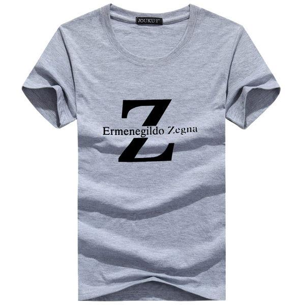 字母Z印花純棉短袖T恤(加大尺碼4XL) 潮T 情侶裝 班服 嘻哈 街舞 HIPHOP 大學T 重機 夏裝 海灘 沙灘