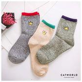 Catworld 皇冠刺繡撞色針織長襪【18900136】‧F