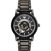 EMPORIO ARMANI 亞曼尼 鏤空機械手錶-黑/43mm AR60010