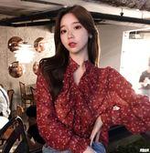 2019春裝新款韓版復古碎花雪紡衫木耳邊長袖上衣開衫微透視襯衫女
