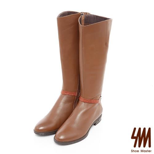 SM-全真皮-低調蛇紋拼接金屬扣飾長筒靴-棕色