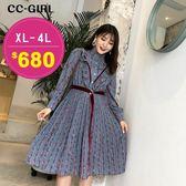 中大尺碼 立領小碎花連身裙洋裝(附腰帶) - 適XL~4L《 67062L 》CC-GIRL  新品
