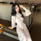 連身裙 2019韓版復古長袖連身裙女秋冬收腰修身配大衣的長裙子過膝針織裙 曼慕衣櫃