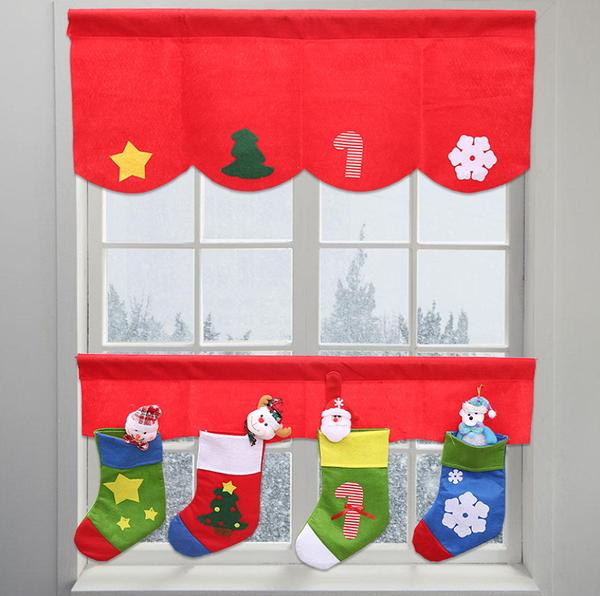 新款聖誕裝飾品 聖誕櫥窗裝飾 聖誕窗簾 2個為一組─預購CH3497