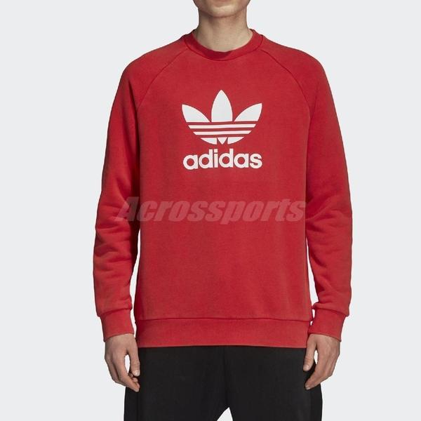 adidas 大學T Trefoil Warm-Up Sweatshirt 紅 白 三葉草 Logo 男款 長袖上衣 【ACS】 DH5826