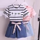 女童網紅套裝洋氣時髦夏季條紋短袖T恤夏裝兒童牛仔短褲兩件套潮 蘿莉新品