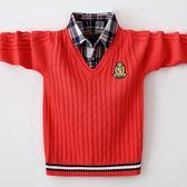 男童毛衣兒童假兩件針織衫男孩中大童冬款套頭加絨保暖打底衫棉 概念3C旗艦店