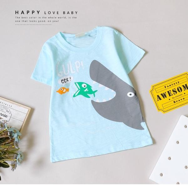 純棉 趣味海洋鯊魚追小魚水藍短T 男童 春夏 短袖 上衣 T恤