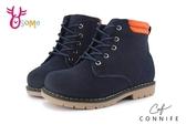 CONNIFE 男女童短靴 中小童 潮流色系綁帶馬丁靴 M8087#藍色◆OSOME奧森童鞋
