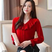 2020襯衫女設計感小眾荷葉邊V領小衫洋氣超仙長袖上衣