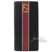 茱麗葉精品【全新現貨】FENDI 7M0186 經典LOGO三色拼接牛皮對開長夾.深藍紅