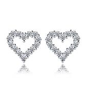 耳環 925純銀鑲鑽銀飾-愛心鏤空生日情人節禮物女飾品73dy182【時尚巴黎】