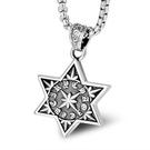 《QBOX 》FASHION 飾品【CSP637】精緻個性復古歐美古文字六角星鑄造鈦鋼墬子項鍊/掛飾