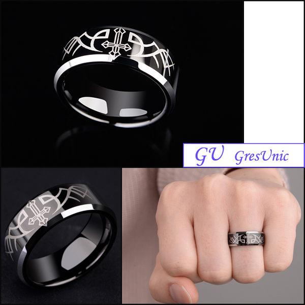 【GU】W22 男友生日禮物禮物男戒鎢鋼戒指鈦鋼戒指 GresUnic Agloce 黑十字架天使烏玄戒指