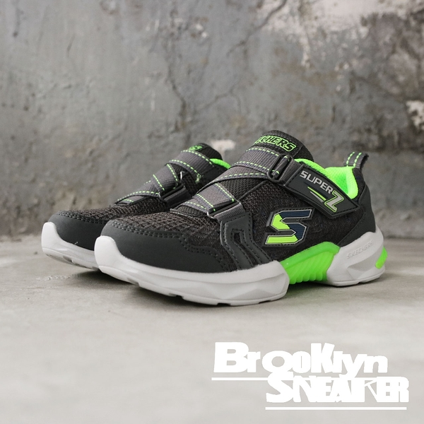 SKECHERS Techtronix 記憶鞋墊 黑螢光綠 黏帶 中童 (布魯克林) 2019/01月 97842LCCLM