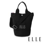 ELLE 極簡風帆布手提/斜背水桶包 黑色 EL52371 周年限定版