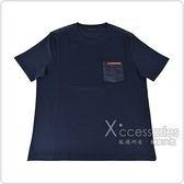 PRADA經典橡膠LOGO拼接口袋純棉短袖T恤(午夜藍)