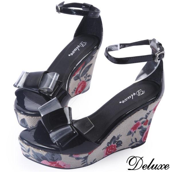 【Deluxe】全真皮蝴蝶花朵厚底楔形鞋(黑)