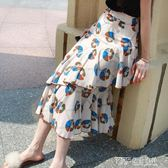 印花雪紡裙半身裙蓬蓬蛋糕裙韓版荷葉邊中長裙高腰包臀不規則裙子 探索先鋒