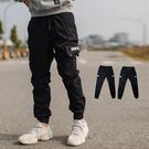 長褲 黑色皮標多口袋抽繩褲頭工作褲縮口褲【NB0694J】